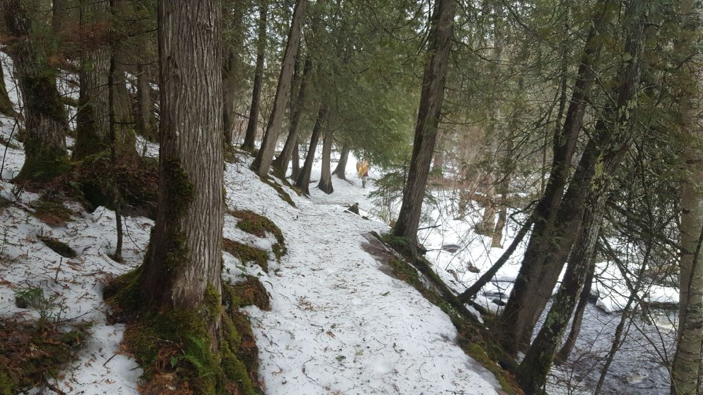 snowy slippery trail